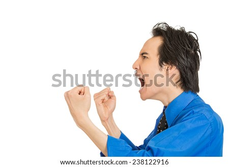 Side profile portrait bitter mad displeased pissed off angry grumpy corporate man open mouth hands fist in air screaming isolated white background. Negative human emotion face expression feeling - stock photo