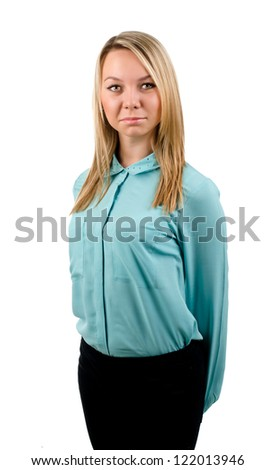Side profile portrait of blonde female model with a serious look on her face. - stock photo