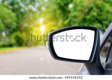 side rear-view mirror on a car. - stock photo