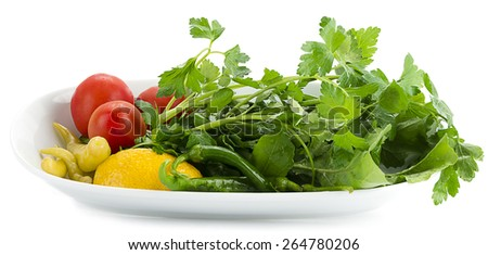 Side salad  traditionally served with kebab isolated on white background. - stock photo