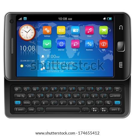 Side slider touchscreen smartphone - stock photo