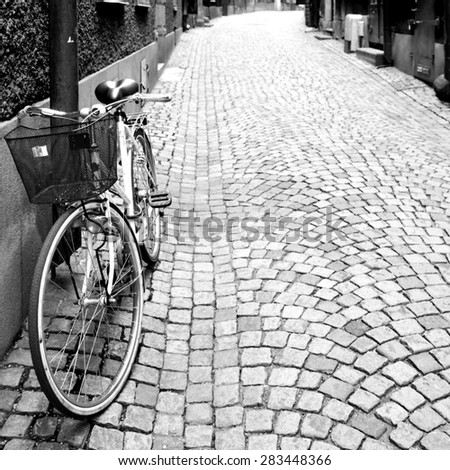 Side street in Stockholm. Black and white image - stock photo