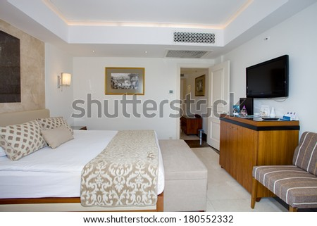 SIDE, TURKEY- JULY 14: Cozy room in residential complex in Side, Turkey, July 14, 2013. Residence has restaurant, bar inside pool, fitness room, Turkish bath, sauna,etc.