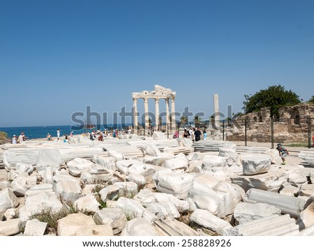 SIDE, TURKEY - JUNE 18, 2014: Temple of Apollo. Ancient ruins in Side. Turkey - stock photo