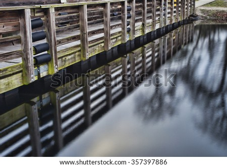 Side view and reflection of a handicapped fishing dock at Upchurch Lake in North Carolina