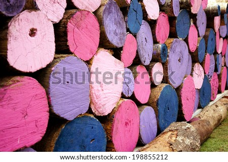Side view colorful stack chopped wood - stock photo