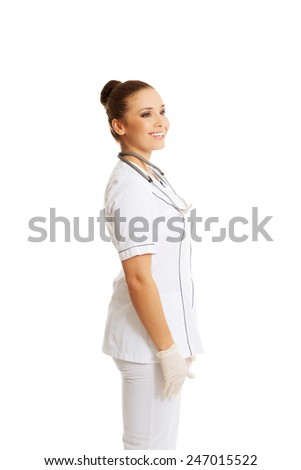 Side view female doctor laughing. - stock photo