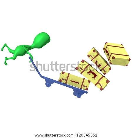 Side view green puppet crash trolley with cases - stock photo