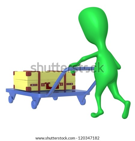 Side view green puppet push trolley with case - stock photo