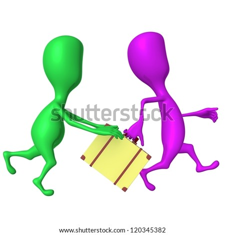 Side view green puppet try stop  hurring pink - stock photo
