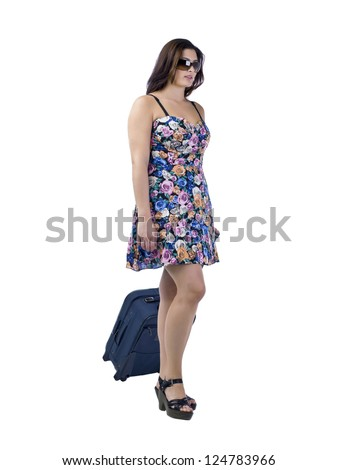 Side view image of a beautiful woman holding her luggage against the white surface