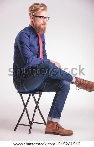 Man Sitting Cross Legged Side View Sitting Cross Legged S...