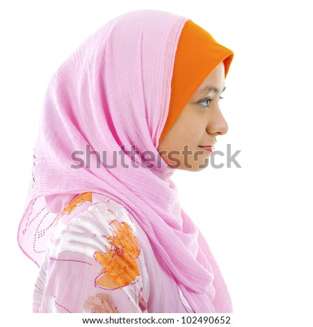 Side view of A Beautiful Muslim woman isolated on white - stock photo