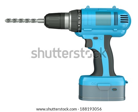 Side view of a blue cordless drill isolated on white background. 3D render. - stock photo