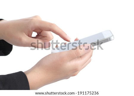 Side view of a business woman hands touching a smart phone isolated on a white background         - stock photo