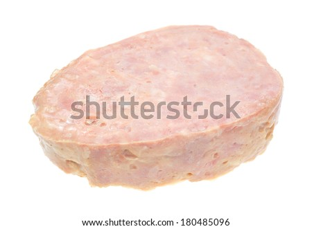 Side view of a canned ham on a white background. - stock photo