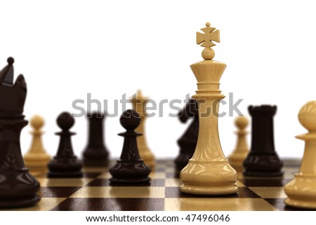 Side view of a chess board with different chess pieces. Only the white king is in selective focus. Very shallow depth of field - stock photo