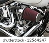 Side view of a custom chopper air intake - stock photo