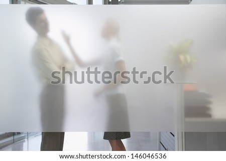 Side view of a female office worker arguing with male colleague behind translucent wall in office - stock photo