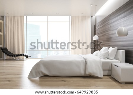 Side View Gray Wall Bedroom Interior Stock Illustration 649929835