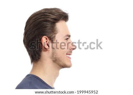 Side view of a handsome man facial portrait isolated on a white background               - stock photo