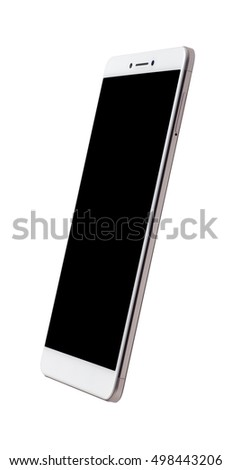 Side view of a large screen smartphone isolated on white background