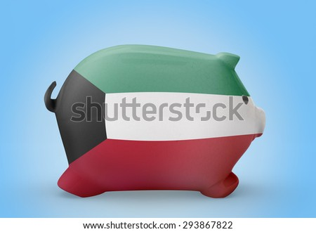 Side view of a piggy bank with the flag design of Kuwait.(series) - stock photo