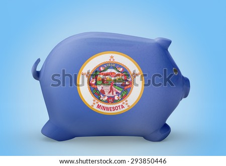 Side view of a piggy bank with the flag design of Minnesota.(series)