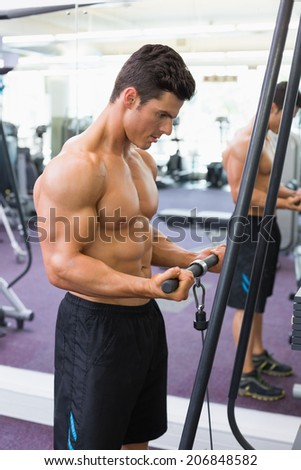 Side view of a shirtless young muscular man using triceps pull down in gym - stock photo