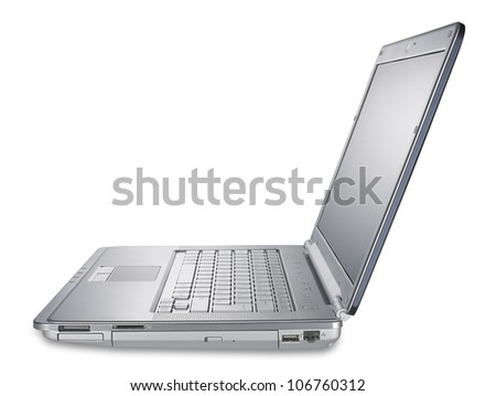 side view of a silver laptop computer, shallow Depth of field, isolated on white with clipping path - stock photo