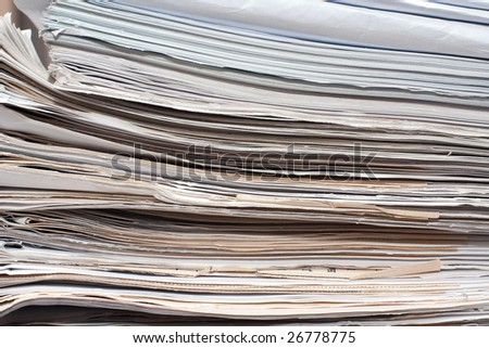 Side view of a stack of documents