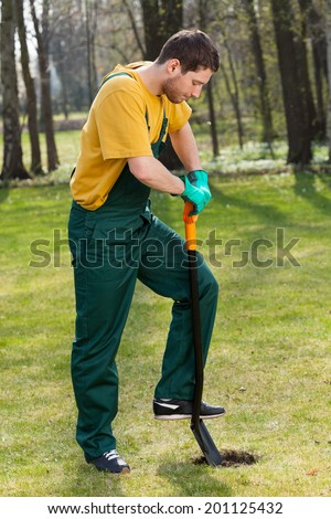 Side view of a strong man in dungarees digging in garden - stock photo