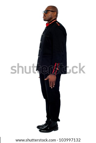 Side view of a stylish young african male model - stock photo