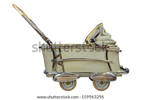 Side view of a vintage off white baby pram isolated on a white background - stock photo