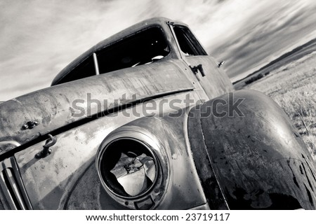 Side view of a vintage truck fender - stock photo