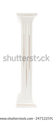 Side view of a white painted wooden picture frame isolated over the white background