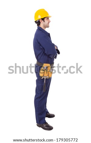 Side view of a worker standing on white background