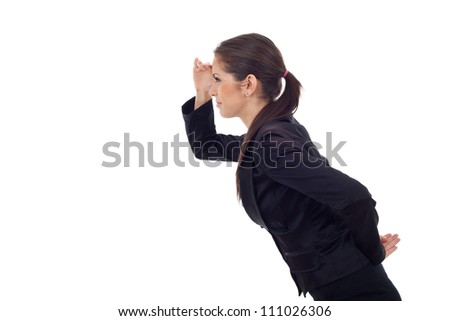 Side view of a young business woman looking at something far away, isolated on white background. - stock photo