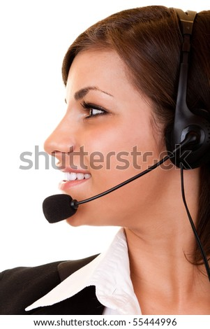 side view of a  young customer service girl with headset
