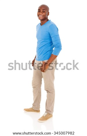side view of african american man posing on white background - stock photo
