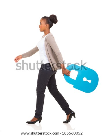side view of african american woman walking with lock symbol on white background - stock photo