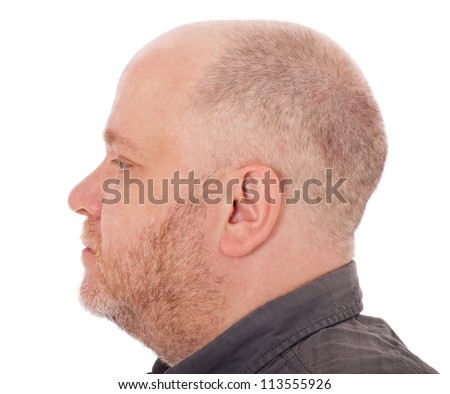 Side view of an adult mans head. All on white background.