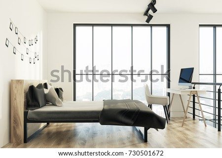 Side View Of An Upscale Bedroom Interior With A Loft Window, White Walls  With A