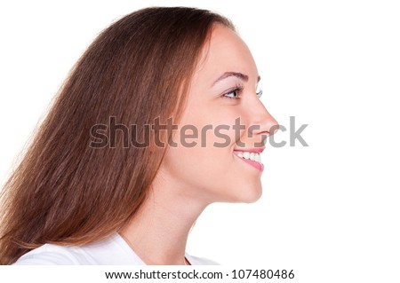 side view of beautiful woman with long hair over white background