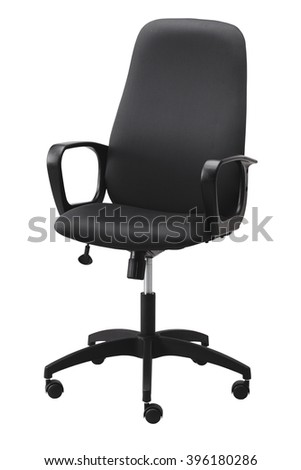 Side view of black office swivel chair on wheels with a mechanism for adjusting the height. Isolated on white background. Include path.