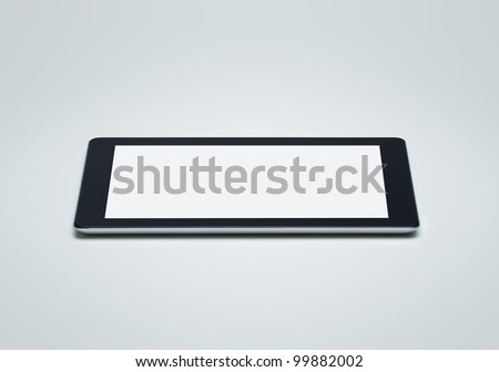Side view of blank digital tablet with clipping path for the screen - stock photo