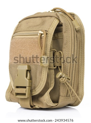 side view of Brown Tactical pouch in White background - stock photo