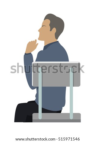 Side view of businessman in blue sweater sitting on gray chair. Business people series. Thinking person. Isolated object in flat design on white background.  illustration.