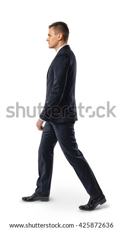 Side view of businessman walk, isolated on white background. Successful lifestyle. Business staff. Office clothes. Dress code. Presentable appearance. Self-confidence. - stock photo