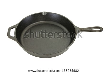 Side View Of Cast Iron Pan Isolated On White Background - stock photo